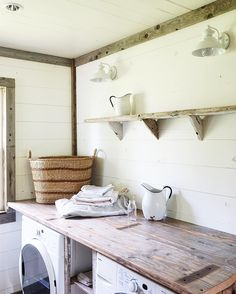 It would be cool to have an antique style laundry room with old wood and log cabin type decor