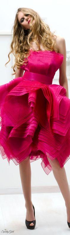 Raspberry / fuchsia kerchief hem knee length dress