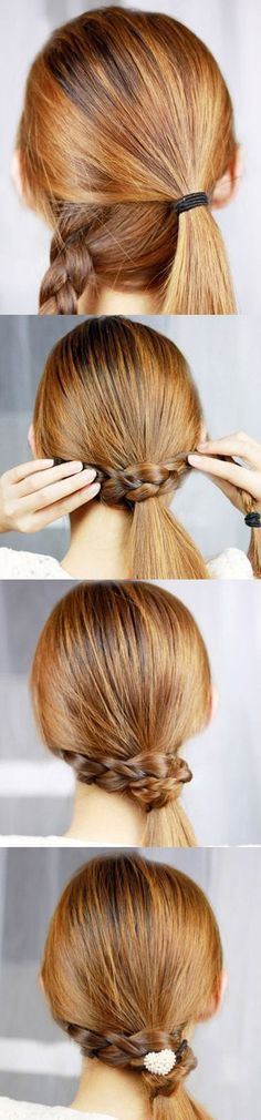 Braid wrapped side pony