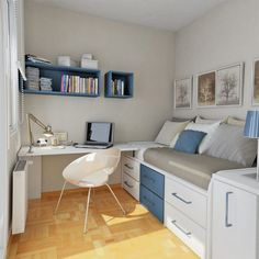 Cool White and Blue Sky Colored Teenage Bedroom with Wooden Floor and White Chair and Blue Wall Shelfs and Loft Bed and Multicolored Pillows and Small Workspace