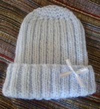 knitted preemie hat pattern for premature babies finished product