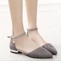14.99  Damen Schuhe Glanz Frühling   Sommer Komfort Flacher Absatz  Glitter   Schnalle Grau   Blau   Golden 3e27015604