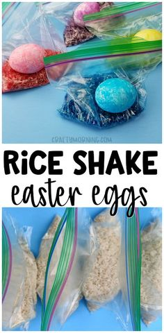 Rice shake easter egg decorating - fun and unique easter egg idea for the kids. Bright colors and less mess for toddlers.