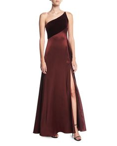 One-Shoulder+Sleeveless+Silk-Velvet+Slip+Evening+Gown++by+Jill+Jill+Stuart+at+Neiman+Marcus.