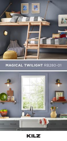 From your kids' bedroom all the way to your kitchen, there are plenty of ways to use KILZⓇ COMPLETE Green Room Colors, Grey Boys Rooms, Basement Guest Rooms, Grey Kitchens, Room, Home Projects, Diy Furniture, Home Furniture, Home Decor