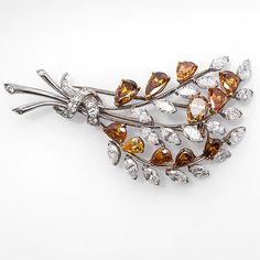 Fancy 10 Carat Diamond Brooch Pin Pendant Foliate Motif Platinum & 18K Gold