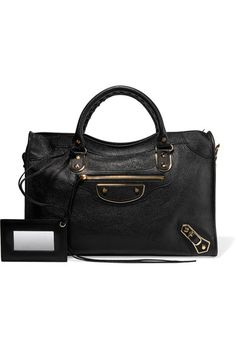 Balenciaga - City Glossed Textured-leather Tote - Black - one size