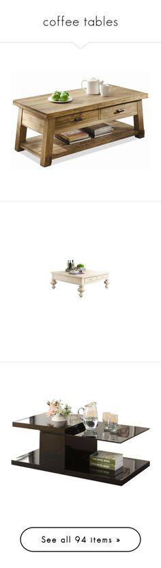 """""""coffee tables"""" by coralkahler ❤ liked on Polyvore featuring home, furniture, tables, accent tables, cabin, home decor, mobile shelving, shelf table, mobile table and rectangular table"""