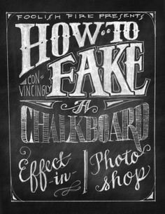 How to Fake a Chalkboard Effect in Photoshop /// A simple written tutorial using a mixture of digital base layers and hand drawn typographic design. However for beginners in photoshop, some jargon is not explained and may need further degrees of research. Illustrator Tutorial, Photoshop Illustrator, Pc Photo, Photo Tips, Photoshop Tutorial, Diy Tutorial, Photoshop Photography, Photography Tutorials, Photography Tips