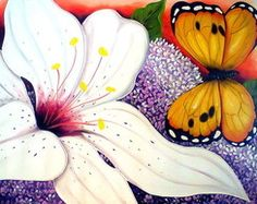 Quadro Lirio hortênsia e borboleta