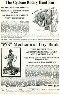 1926 Print Ad of Dapper Dan Coon Jigger Bank Black Americana, Cyclone Hand Fan Dapper Dan, Best Fan, Print Ads, Vintage Advertisements, Hand Fan, Collections, Memes, Ebay, Black