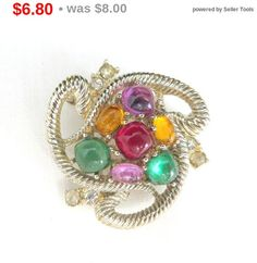 ON SALE! Christmas Fruit Brooch, Vintage Cabochons & Rhinestones Gold Tone Pin