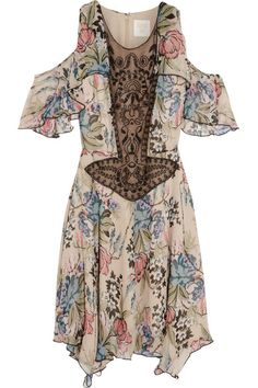 Anna Sui floral print silk-chiffon and embellished tulle mini dress