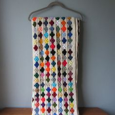 Colorful Woven Crochet Blanket Eyelet Flowers by TintedVintage, $55.00