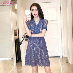 1f79ec356e Daranio 2018 Summer Women s A-Line Slimming Short Skirt Dresses with V-Neck  Collar