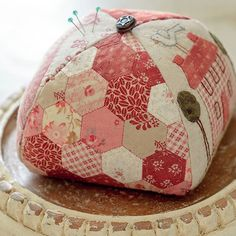 Scrappy hexies on a pincushion <3