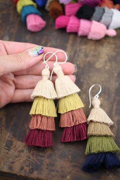 DIY Tiered Tassel Earrings in a Flash Diy Tassel Earrings, Tassel Jewelry, Fabric Jewelry, Diy Necklace, Clay Jewelry, Jewelry Crafts, Earrings Handmade, Lace Earrings, How To Make Tassels