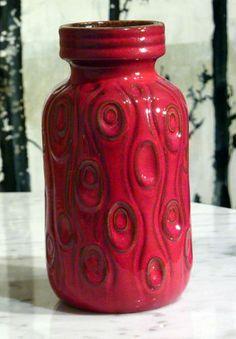 West German Pottery Vase by Scheuzich Koralle decor, Retro, Eames, 1960's era