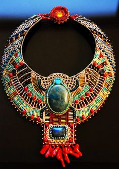 ancient egypt inspired beaded statement necklace / collar by cathy Maxi Collar, Beaded Collar, Collar Necklace, Crochet Collar, Diy Necklace, Long Pearl Necklaces, Beaded Statement Necklace, Tribal Jewelry, Beaded Jewelry