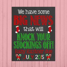 Christmas Pregnancy Announcement Chalkboard Poster Printable // Knock Your Stockings Off // Pregnancy Reveal Photo Prop // Funny // Unique by PersonalizedChalk