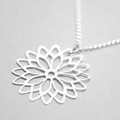 dahlia chrysanthemum stainless steel japanese sterling silver pendant