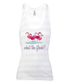 White Stripe Flamingo 'What The Flock?' Racerback Tank - Women