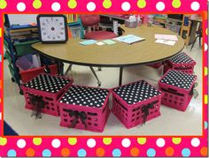 crate seats with ribbons! {I would do hot pink crates + zebra print cushions + black grosgrain ribbon!}