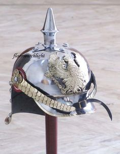 WWI GERMAN PICKELHAUBE STEEL & BRASS HELMET PRUSSIAN FR BADGE OFFICER SPIKE HELM