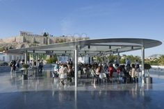 Terrace cafe at the Acropolis Museum in Athens
