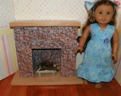 American Girl Fireplace complete with flickering candle & wood