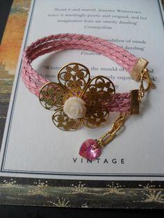 Pink Bracelet with Swarovski Heart by SwedishShop on Etsy, $19.90