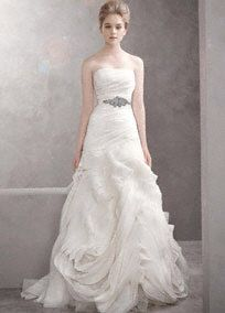 David's Bridal. Vera Wang, Strapless organza fit-and-flare gown, draped bodice and hand-cut bias flange skirt