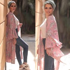 floral chiffon cardigan-Casual Summer Hijab Clothing – Just Trendy Girls – Beauty Shares Cardigan Outfit Summer, Cardigan Outfits, Dress With Cardigan, Mode Abaya, Mode Hijab, Hijab Turban Style, Modest Fashion, Fashion Outfits, Chiffon Cardigan