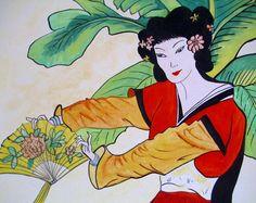 GarZenKunst - japanische Geisha -Original Aquarell von Atelier U.B. tierisch-gelungen auf DaWanda.com