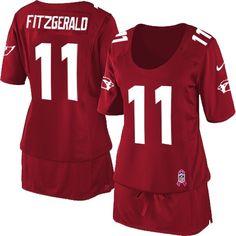 Arizona Cardinals Larry Fitzgerald Women's Elite Red Nike Jersey #11 NFL Breast Cancer Awareness