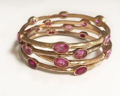 Hot Pink CZ Stone and Gold Plated Luxe Bangle by LisaStewartJewelry on Etsy -$18
