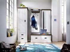Garderobenkombination Blance II 4tlg. Strukturweiß Passend zum Möbelprogramm Blance Kombination bestehend aus: 1 x Sitzbank mit 2 Schubkästen B/H/T ca. 120 x 40 x 45 cm...