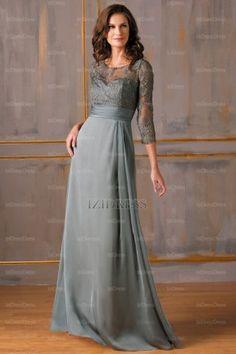 A-Line/Princess Jewel Floor-length Chiffon Evening Dress