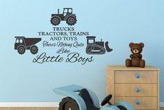 Trucks, Tractors, And Toys Boys Bedroom Vinyl Wall Decal   CountryCraftsandVinyl - Housewares on ArtFire