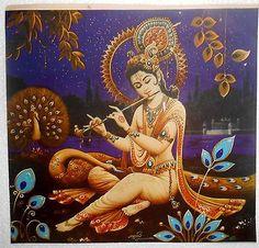 India Vintage Print Hindu Religious Krishna With Flute rg497