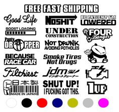 32 New Ideas For Cars Stickers Decals Jdm Stickers, Racing Stickers, Funny Bumper Stickers, Window Decals, Car Decals, Because Race Car, Car Signs, Sticker Bomb, Diorama