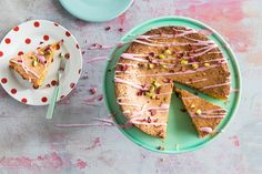Gluten-Free lemon and pistachio cake with rosewater icing it will dip slightly in the centre due to its delicate nature but this is just a sign of how Almond Recipes, Dairy Free Recipes, Sin Gluten, Nutella, Graham, Afternoon Tea Cakes, Sbs Food, Pistachio Cake, Icing Recipe