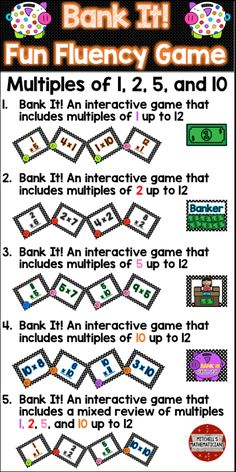 This fun interactive game will have your students cheering for more while they are learning their times tables.   Concepts covered: Bank it game with just multiples of 1 up to 12, multiples of 2 up to 12, multiples of 5 up to 12 and multiples of 10 up to 12.  Your kids will be begging to play again.