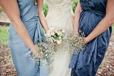 Ombre crinkled blue silk bridesmaid dresses and baby's breath bouquets! Silk Bridesmaid Dresses, Wedding Bridesmaids, Wedding Bouquets, Wedding Dresses, Greek Wedding, Blue Wedding, Wedding Colors, Wedding Trends, Wedding Styles