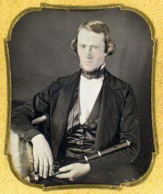 1840s flutist, daguerreotype