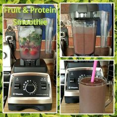 Fruit & Protein Smoothie     3/4 cup coconut water   4 large strawberries   1/3 cup frozen cherries   1/3 frozen banana . 1 cup frozen baby spinach   2 Tblsp Nutiva hemp protein powder  1/2 tsp acai powder   1/2 tsp maqui powder   2 tsp flax seeds  1 inch ginger root   sliver of lime   1/2 cup ice  #Vitamix #vegan #healthy #plantbased #dairyfree #fruit #superfoods #acai #maqui #smoothie #nutiva #hempprotein