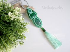 Forest elf - bead embroidered pendant necklas by MythaJewelry on Etsy