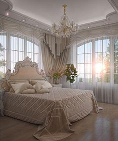 Dream Home Design, Home Interior Design, House Design, Room Ideas Bedroom, Bedroom Decor, Shabby Bedroom, Royal Bedroom, Rich Girl Bedroom, Parisian Bedroom