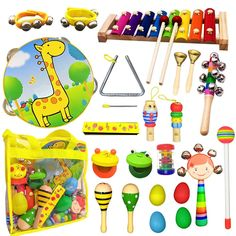 ToyerBee Musical Instruments Toys Set for Kids,26 PCS Wooden Percussion Instruments for Toddlers, Preschooland Educational Music Toy with Storage Bag for Children., Animal Tambourine, MaracasandMore *** You can get additional details at the image link. (This is an affiliate link)