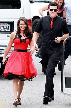 More Sleek Gleeks: Lea Michele and Cory Monteith got ready to shoot Glee scenes Wednesday in L.A. with Lindsay Lohan.